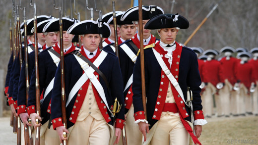 These men, dressed as Continental Army soldiers, march to demonstrate a 'fight during the revolutionary war' as they celebrate George Washington's birthday at Mount Vernon, Virginia, on February 21, 2011.