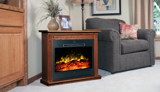 Free-standing electric fireplace.  With casters, this could be easily moved from room to room.
