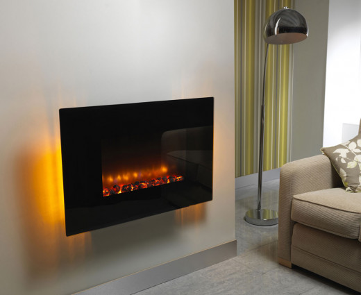 This wall-mounted electric fireplace is a modern, eye-catching piece of décor.