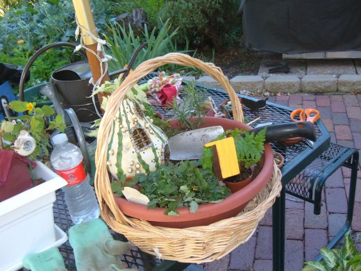 Gather Supplies for your garden and place them all on a table or bench near where you are planting.