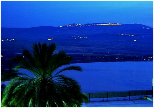 """Sea of Galilee"" at dawn from the balcony of hotel Solomon, Tiberius"