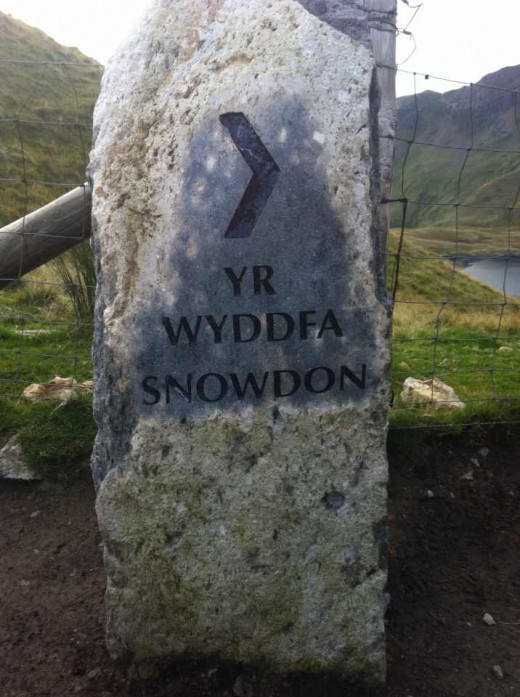 Stone sign at Snowdon