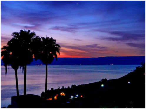 """""""Sea of Galilee"""" viewed from the balcony of hotel Solomon in Tiberius at the dawn"""