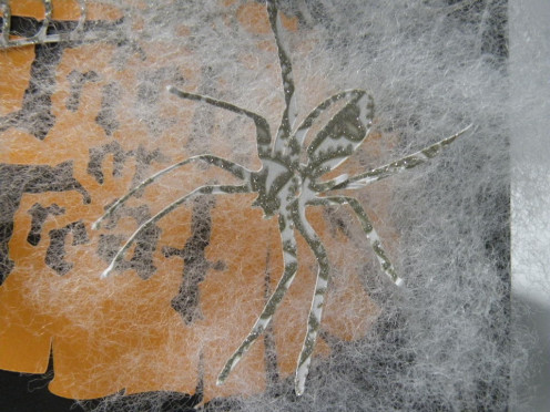 Sparkly Spider adhered to pillow stuffing