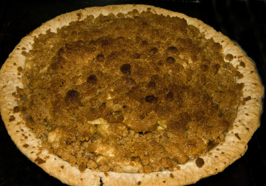 Baked apple pie with crumb topping-photo by AMB