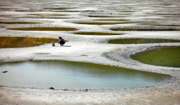 Spotted lake up close with the crystallized magnesium sulfate as walkway