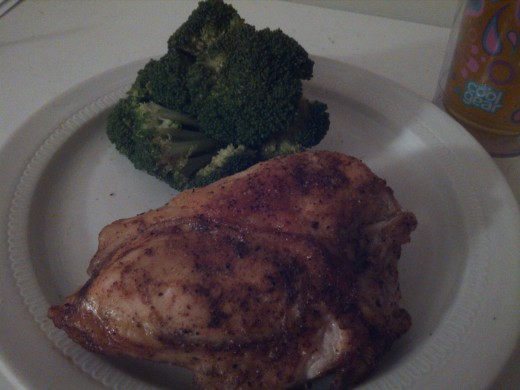 Chicken Breast with sweet chili seasoning and steamed broccoli