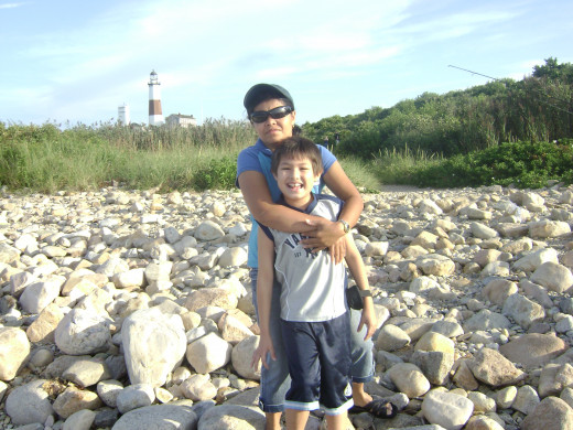 Matty and his mom at Montauk Point