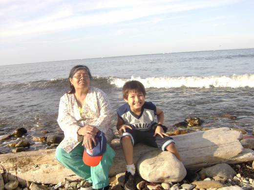 Matty and Grandma at Montauk point