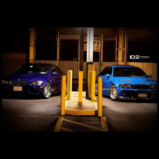 A Laguna Seca Blue E46 M3 and an Interlagos Blue E92 M3 standing side by side