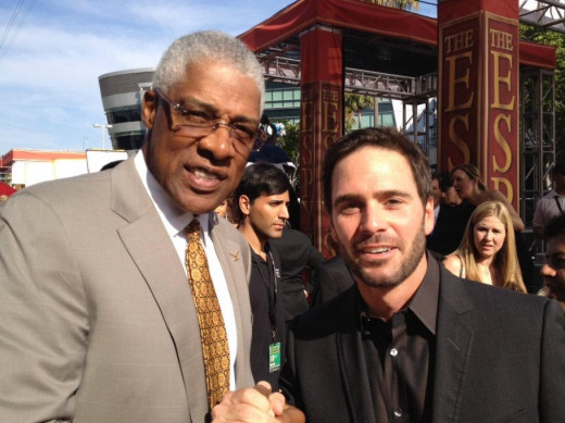Jimmie with another sports legend, Dr. J