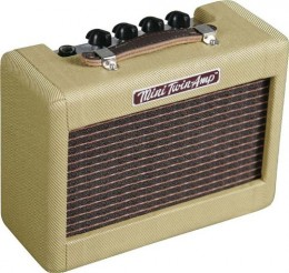 The Fender Mini '57 Twin is a tiny version of a classic Fender guitar amp.