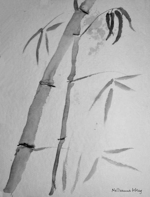 """Bamboo"" - Brush and ink on paper 〰©Nellieanna H. Hay"