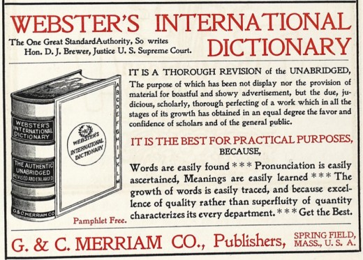 "Advertisement for the 1896 edition of Webster's Dictionary. The word ""okay"" was not included."