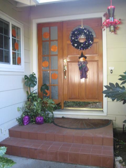 Adding a splash of dark purple to the traditional black and orange creates a colorful, fun Halloween feel.