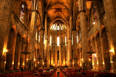 The amazing interior of Gothic church Santa Maria del Mar