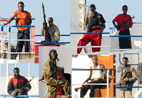 A montage of known Somali pirates from 2008.