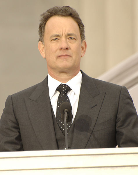 """Tom Hanks at the Lincoln Memorial, reciting the orchestral work """"Lincoln Portrait,"""" written by Aaron Copland on 1/18/2009."""