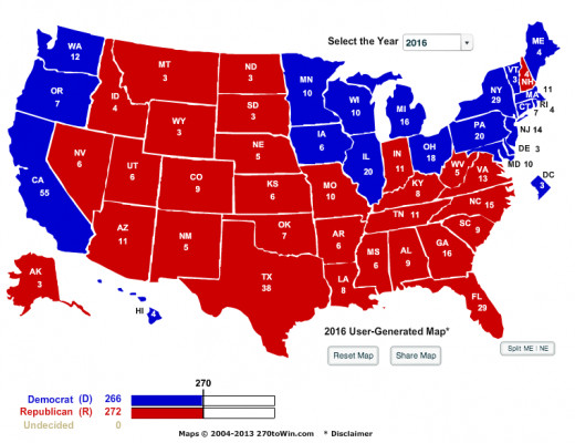 Potential Electoral Map For Barbara Boxer. This is assuming she is up against a Republican candidate.