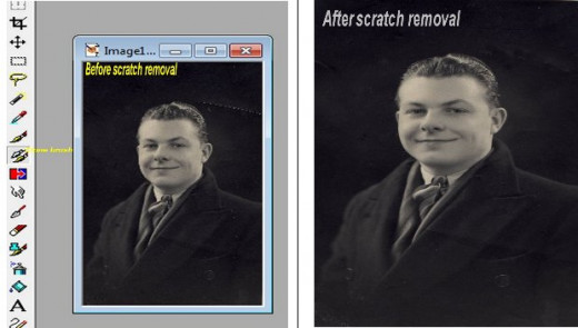 Removing Scratches on Photos Before and after