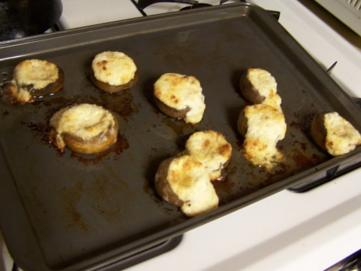 The mushrooms after they are cooked.