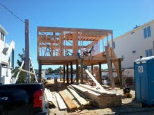 The first floor being framed