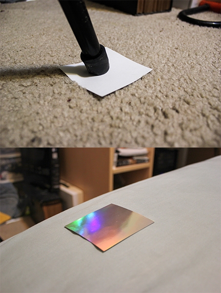 Paper tabs to protect furniture.