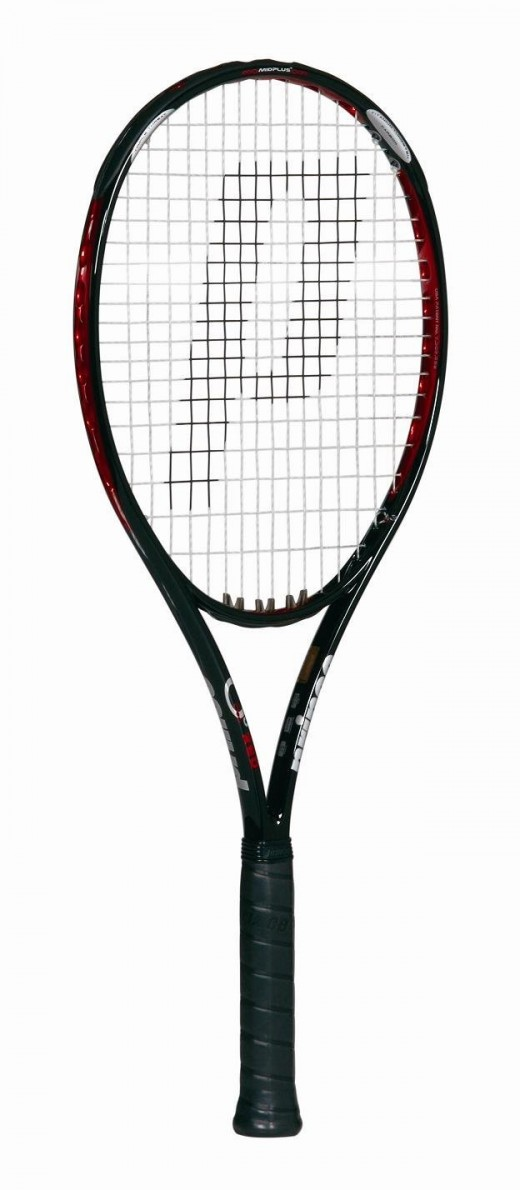 Prince O3 Red MP.  A great all round racket for an affordable price.  An ideal starter for beginners, this racket is highly rated and a best seller for good reason.  The large O-Port grommet holes provide excellent power.