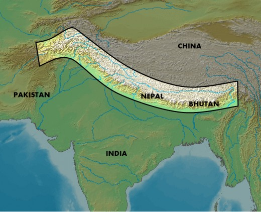 The Political Map Showing the Himalayas across various countries.