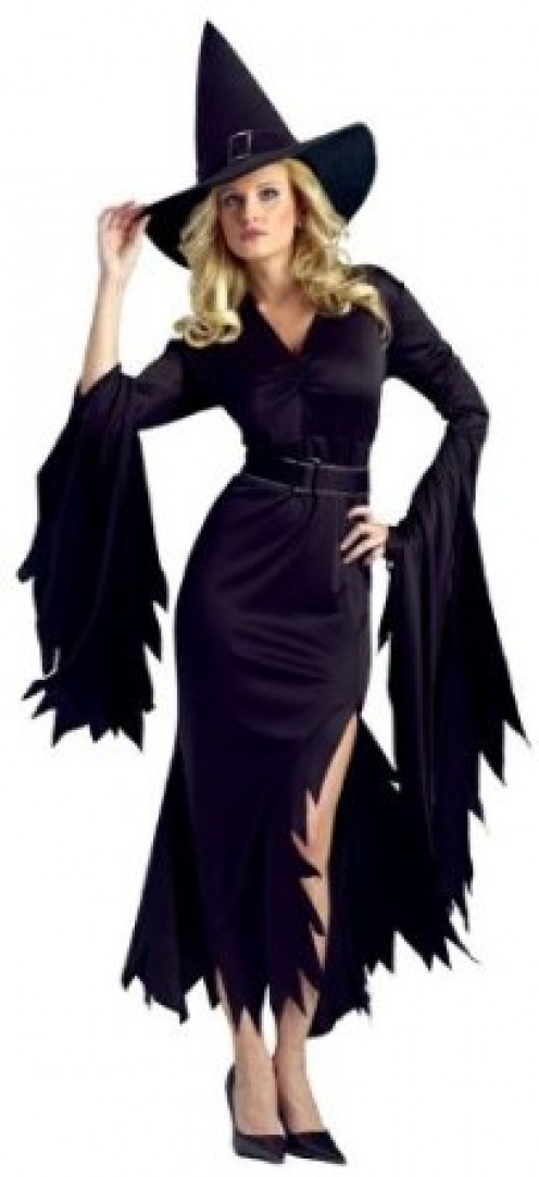 Doesn't this black-colored witch costume look simply elegant and stylish?