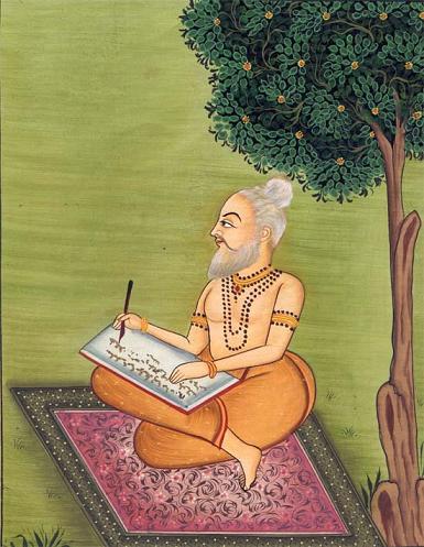 Valmiki writing Ramayana, the great Indian epic
