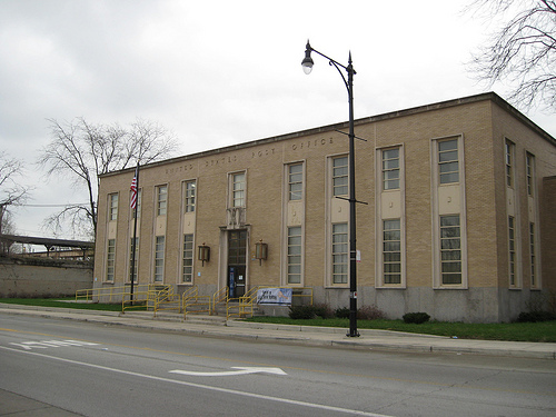 The Englewood Post Office now stands where the Murder Castle once stood.