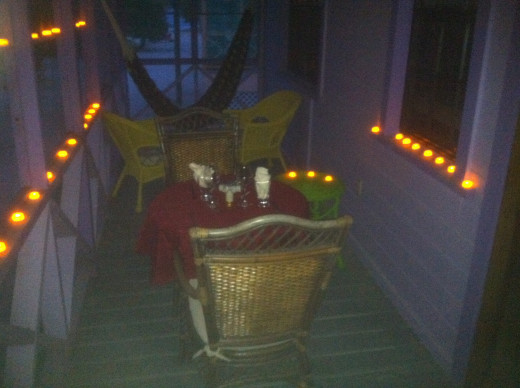 A truly romantic dinner on our honeymoon! Dinner by candle light on the screened porch, which was right on the beach!
