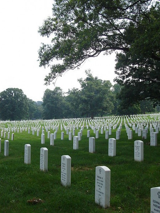 Tombstones at Arlington National Cemetery, July 2006.jpg  Author: S. Chua