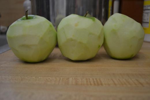 Peel your apples.