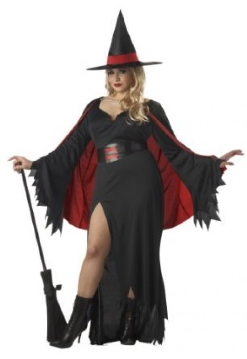 California Women's Scarlet Witch Plus Size Costume Black & Red Color