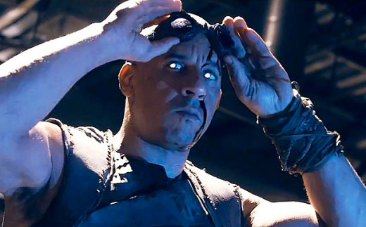 Vin Diesel is the title character, a killer on the run from bounty hunters in the science fiction thriller Riddick