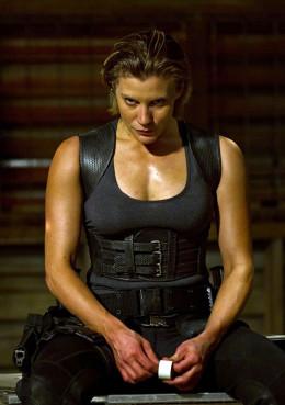 Katie Sackhoff (Battlestar Galactica) stars as a bounty hunter on the hunt for Vin Diesel in Riddick
