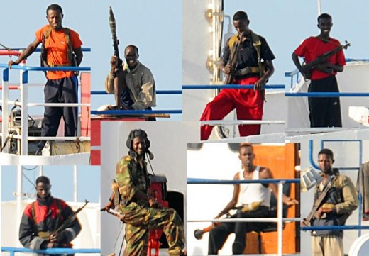 A collage of Somali Pirates taken from Wikipedia