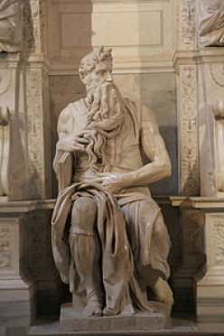 Why does Michelangelo's sculpture of Moses have horns?