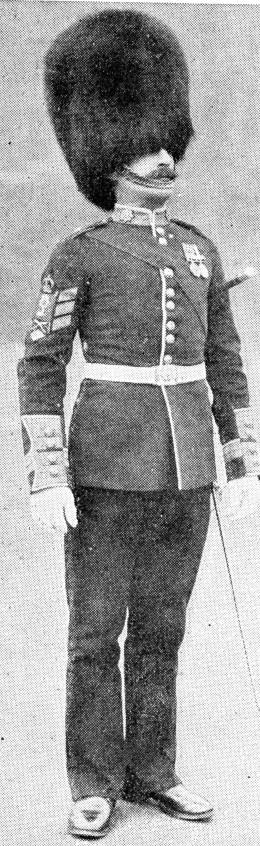 A Coldstream Guard in parade uniform