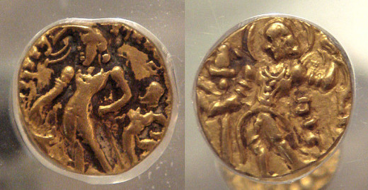 The golden coins of Chandragupta ||. These are two different coins.