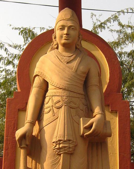 The statue of Chandragupta Maurya at Birla Mandir in Delhi.