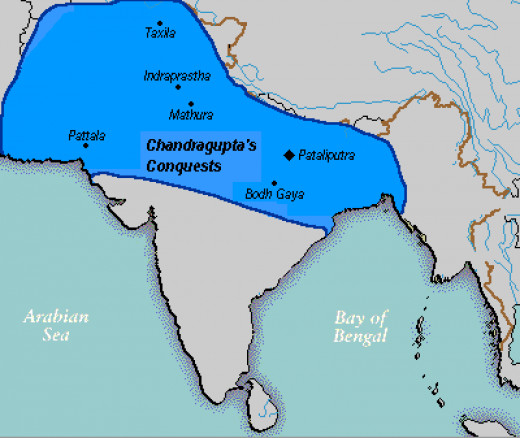 The image for empire of Chandragupta Maurya at its zenith.