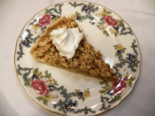 Sugar Free Apple Tart with whipped cream topping.