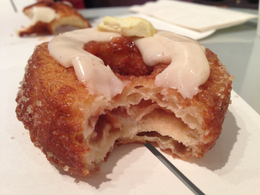 Biting into the cronut... yummy!