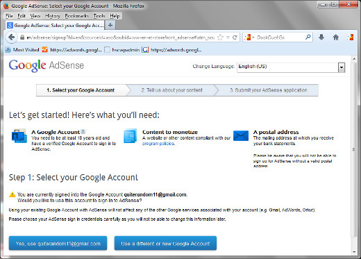 The first step for signing up for your AdSense account.