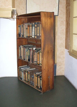 This is a reconstruction of the bookcase that hid the entrance to the attic where the Frank's and the Van Daans were hiding.