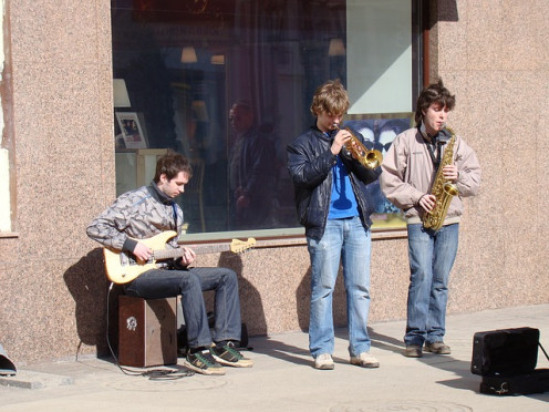 Marching and concert bands take many forms, including groups of buskers or street musicians.