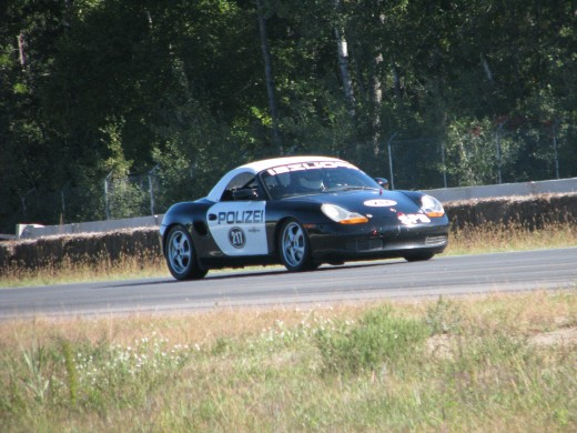 Porsche Boxster race car at Brainerd International Raceway. This photo also lacks any sense that the car is moving.